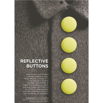 Reflective buttons neon yellow - 28 mm