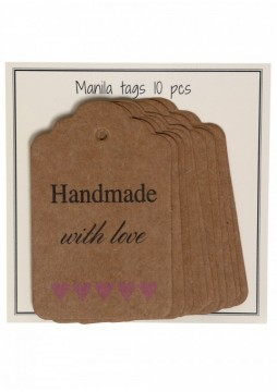 Merkelapper i papp - Handmade with love - rosa hjerter